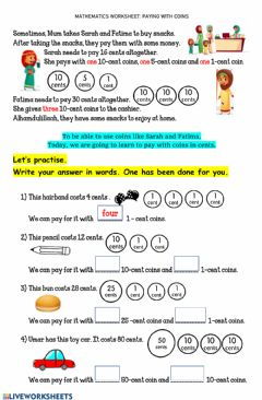 Interactive worksheet Worksheet 11 PAYING WITH COINS