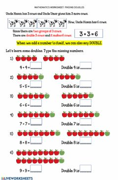 Interactive worksheet Worksheet 12 FINDING DOUBLES