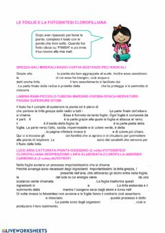 Interactive worksheet Le piante e la fotosintesi clorofilliana