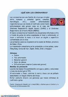 Interactive worksheet Descripcion del coronavirus