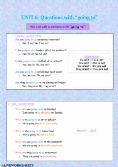 Interactive worksheet Going to: questions.