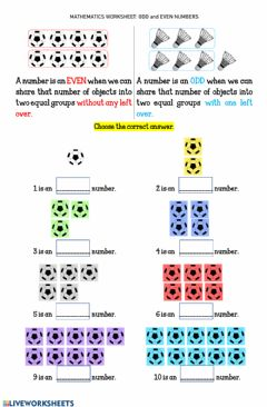 Interactive worksheet Worksheet 18 ODD and EVEN NUMBERS