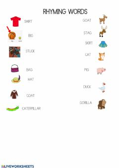 Interactive worksheet Rhyming words Hippo has a hat