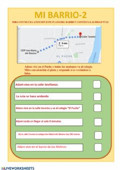 Interactive worksheet Mi barrio 2