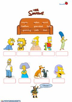 Interactive worksheet Simpsons family