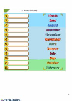 Interactive worksheet The months of the year