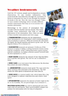 Ficha interactiva Weather instruments reading