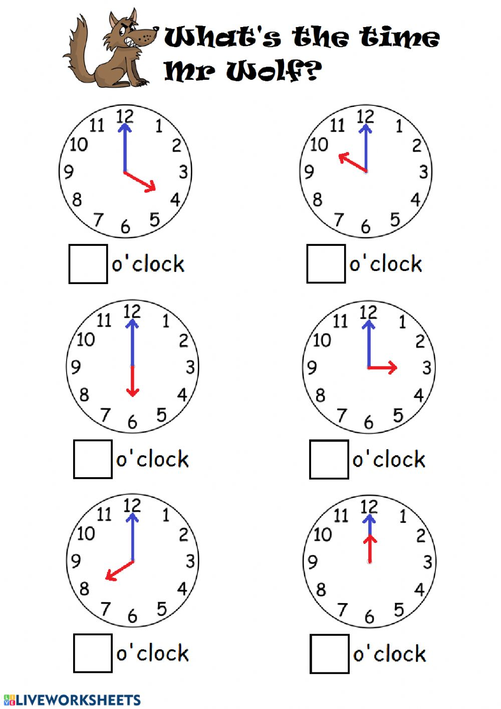 Telling time by the hour worksheet