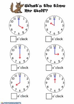 Interactive worksheet Telling time by the hour