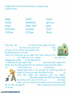 Interactive worksheet Daily routine Reading