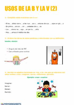 Interactive worksheet Uso de la b y la v (2)