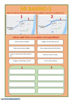 Interactive worksheet Mi Barrio 3