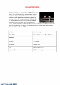 Interactive worksheet Neil Armstrong