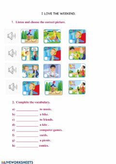 Interactive worksheet I love the weekend