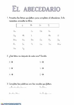 Interactive worksheet El abecedario
