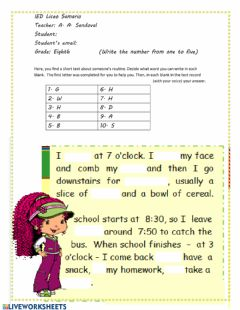 Interactive worksheet Daily routine speaking