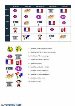 Interactive worksheet Mark-s timetable
