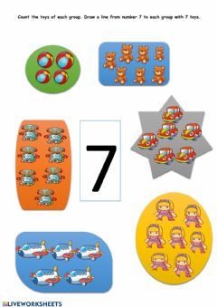 Ficha interactiva Number 7 - count and match