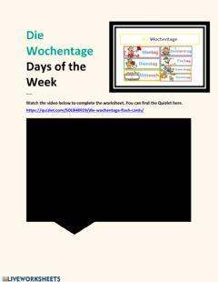 Interactive worksheet Wochentage Video Lesson