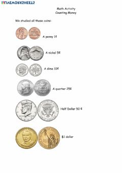 Ficha interactiva Math penny half dollar coin April 13