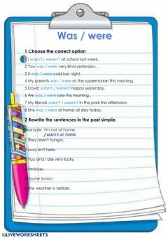 Interactive worksheet Past simple to be: was-were