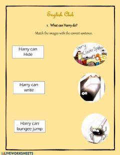 Interactive worksheet Harry the clever spider at school