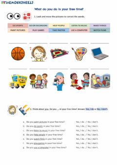Interactive worksheet What do you do in your free time?