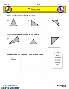 Interactive worksheet Classify Triangle According to Angle Size