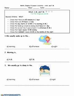 Ficha interactiva A.M. and P.M. LA Worksheet