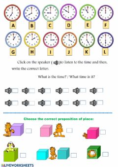 Ficha interactiva Time o'clock & prepositions of place
