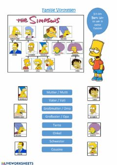 Interactive worksheet Familie Simpson