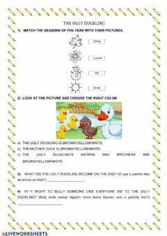 Ficha interactiva The Ugly Duckling for Young Children