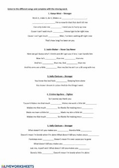 Interactive worksheet Comparative and Superlative Songs