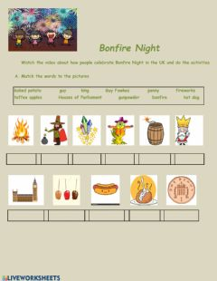 Interactive worksheet Bonfire Night