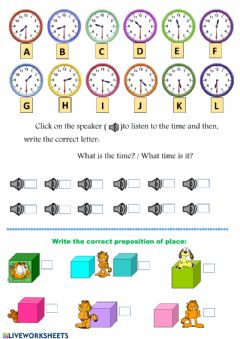 Ficha interactiva Time: half past - prepositions of place