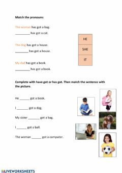 Interactive worksheet He she it - have has