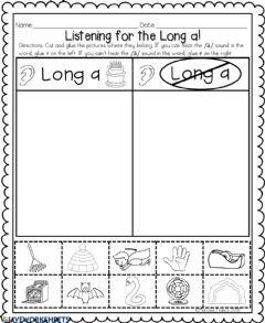Interactive worksheet Long a words with ai,ay,a-e.