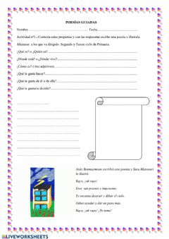 Interactive worksheet Poesía guiada