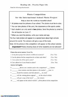 Interactive worksheet Reading Ads - Practice Paper One  (b)