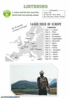 Interactive worksheet Travelling abroad (Listening)
