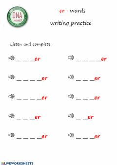 Interactive worksheet -er- words writing practice (easy)