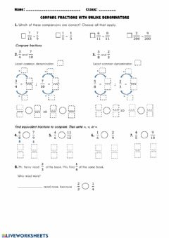 Interactive worksheet Compare fracions with unlike denominators (Practice)