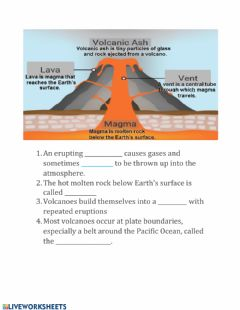 Interactive worksheet Volcanoes