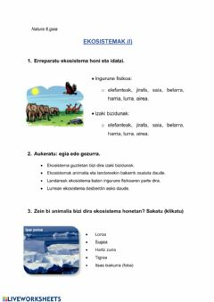 Interactive worksheet Ekosistemak (I)