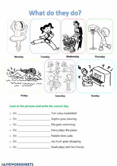 Interactive worksheet Days of the week and activities