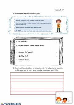 Interactive worksheet Ficha 3º Francés