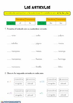 Interactive worksheet Act. interactiva - Articulos