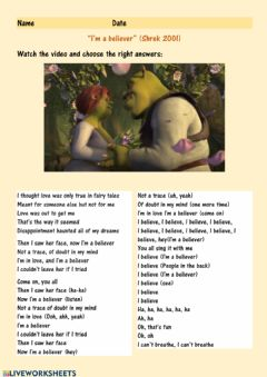 Ficha interactiva Shrek song: listen and fill in the blanks