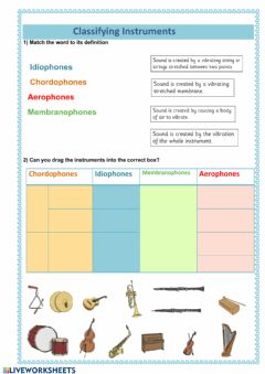 Ficha interactiva Classifying musical instruments