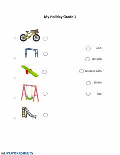 Interactive worksheet Play ground and holiday